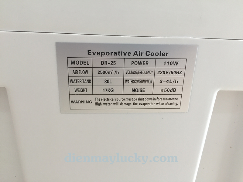 Quạt điều hòa không khí Fujitsu 30 lít DR - 25tiết kiệm điện năng, an toàn khi sử dụng